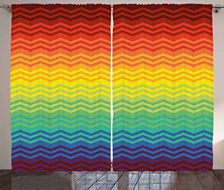 Fiesta Curtains By Ambesonne, Mexican Inspired Colorful Chevron Zigzags  Three Dimensional Pattern Tribal Culture,