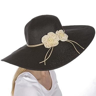 9ad19dfba5e Sakkas 5241LF Bella UPF 50+ 100% Paper Straw Flower Accent Wide Brim Floppy  Hat