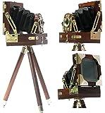 Antique Vintage Look Film Camera Wooden Tripod Collectible Studio Gift Item Brown Color
