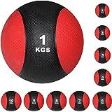 Medizinball Medizin Gewichtsball von POWRX 1 - 10 kg   Schwarz / Rot