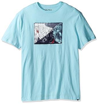 f13c1a23 Nautica Men's Big and Tall Short Sleeve Graphic T-Shirt, Bright Aqua 1X