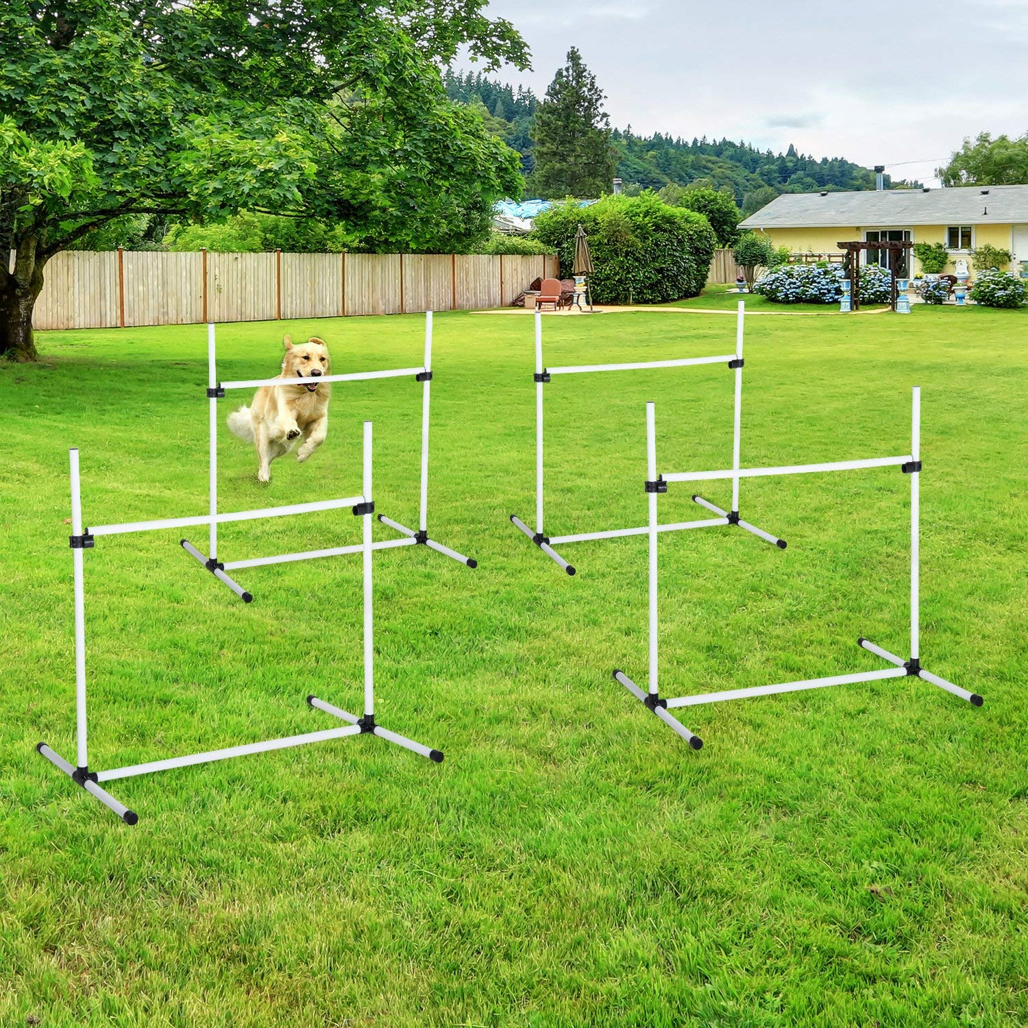 Festnight Adjustable Dog Agility Training Equipment Jump Bar with Carrying Bag, Set of 4 Poles by Festnight