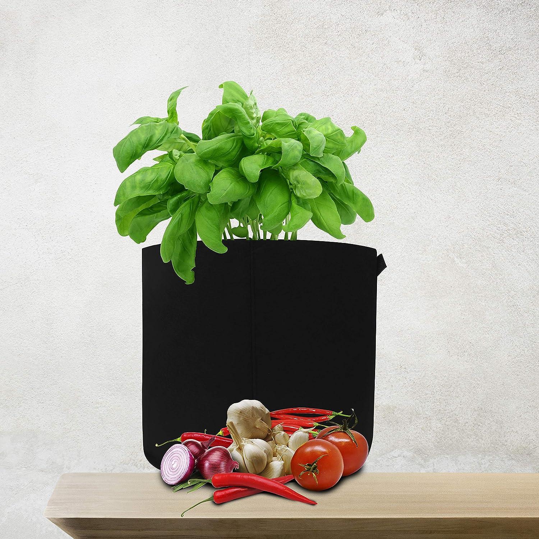 BELLE VOUS Bolsa de Cultivo 57L Flores y Plantas Pack de 5 - Macetas de Tela Ecol/ógicas Elegante con Ventilaci/ón 44cm de Di/ámetro x 34cm de Alto Bolsa no Tejida Gruesa Libre de BPA para Vegetales