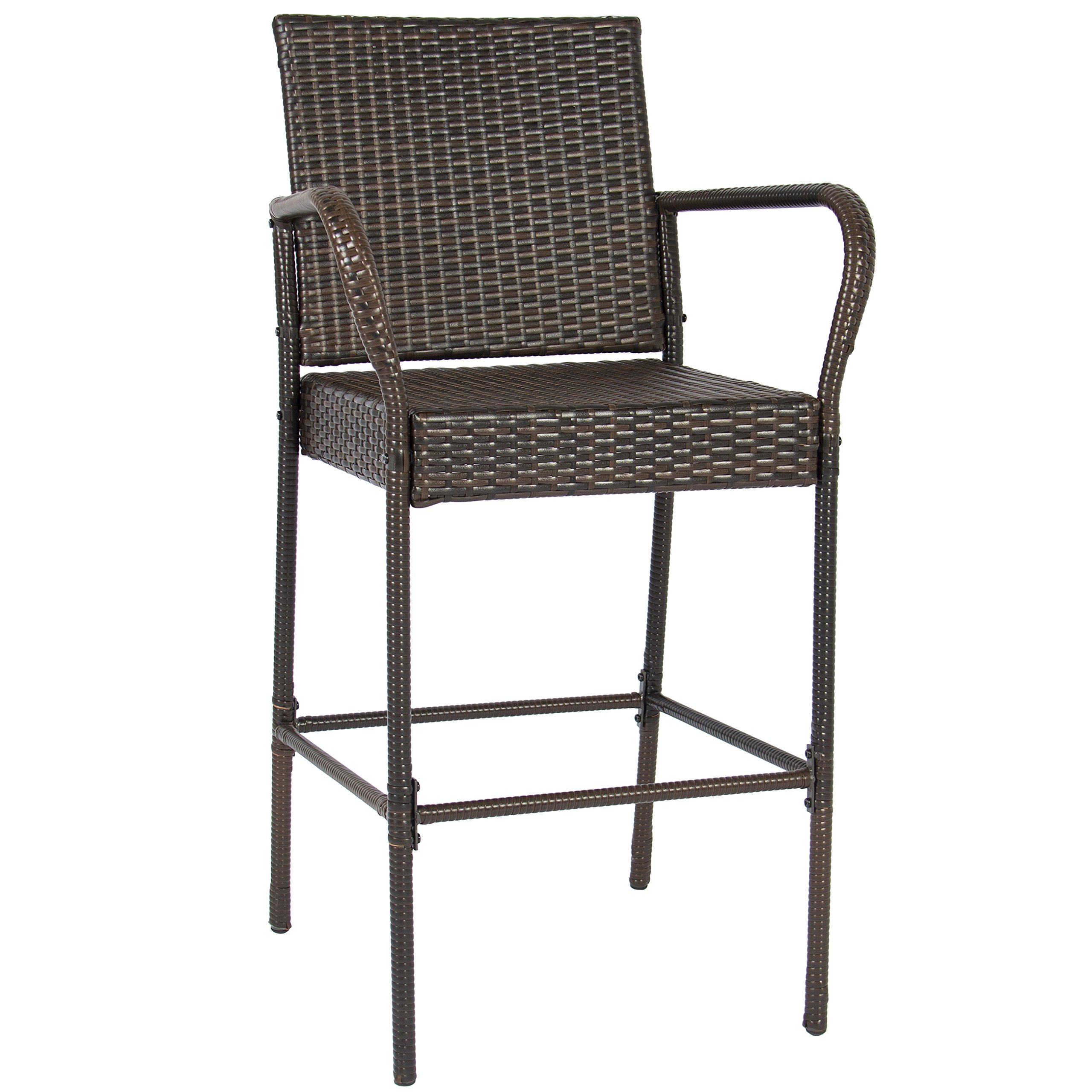 Best Choice Products Set of 2 Outdoor Brown Wicker Barstool Outdoor Patio Furniture Bar Stool by Best Choice Products (Image #3)