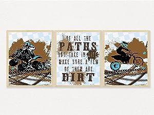 Dirt Bike Motorcycle ATV Themed Bedroom Room Wall Decor Art Prints