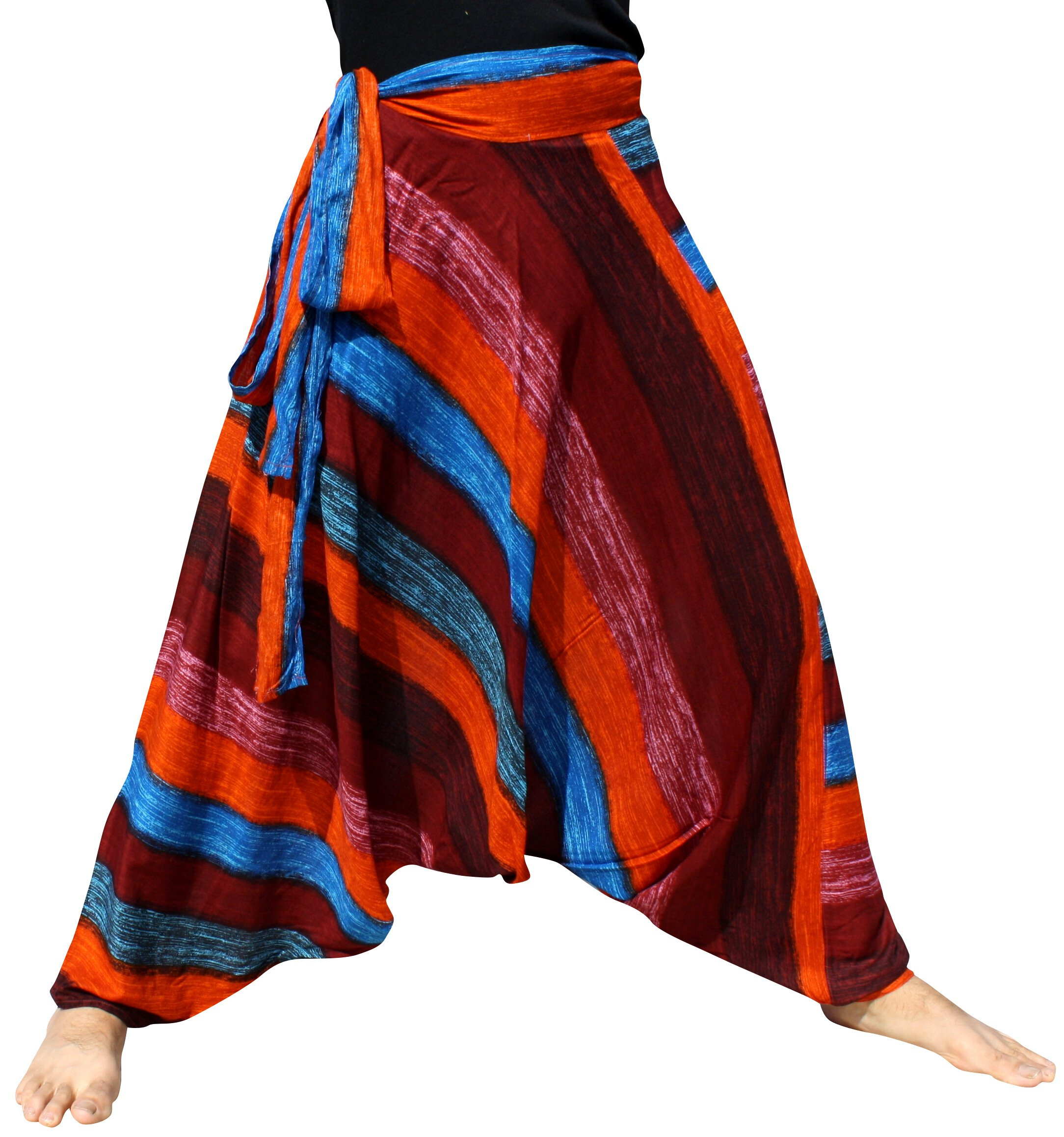Raan Pah Muang Mixed Art Baggy Side Tie Mao Hmong Hill Tribe Harem Pants All Size, Large, Rainbow Blue Brown by Raan Pah Muang