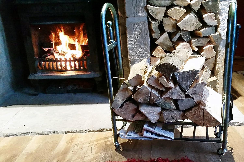 metal log basket fire wood rack holder fireplace stove wheelable