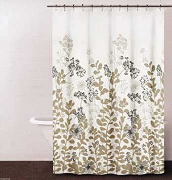 dkny enchanted forest botanical fabric shower curtain neutral on ivory 72 x 72