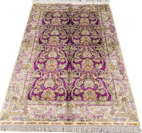 Amazon Com Yuchen New 5x7 5 Ft Purple Home Area Rugs 100 Hand Knotted Hand Trimmed Persian Oriental Silk Traditional Carpet Designs Kitchen Dining