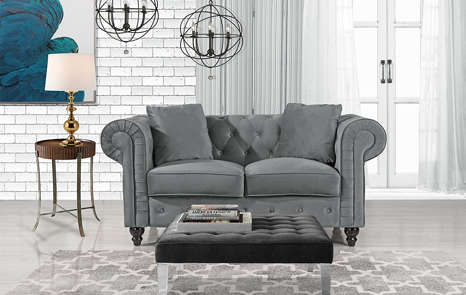 Amazon com divano roma furniture classic modern scroll arm velvet chesterfield love seat sofa grey kitchen dining