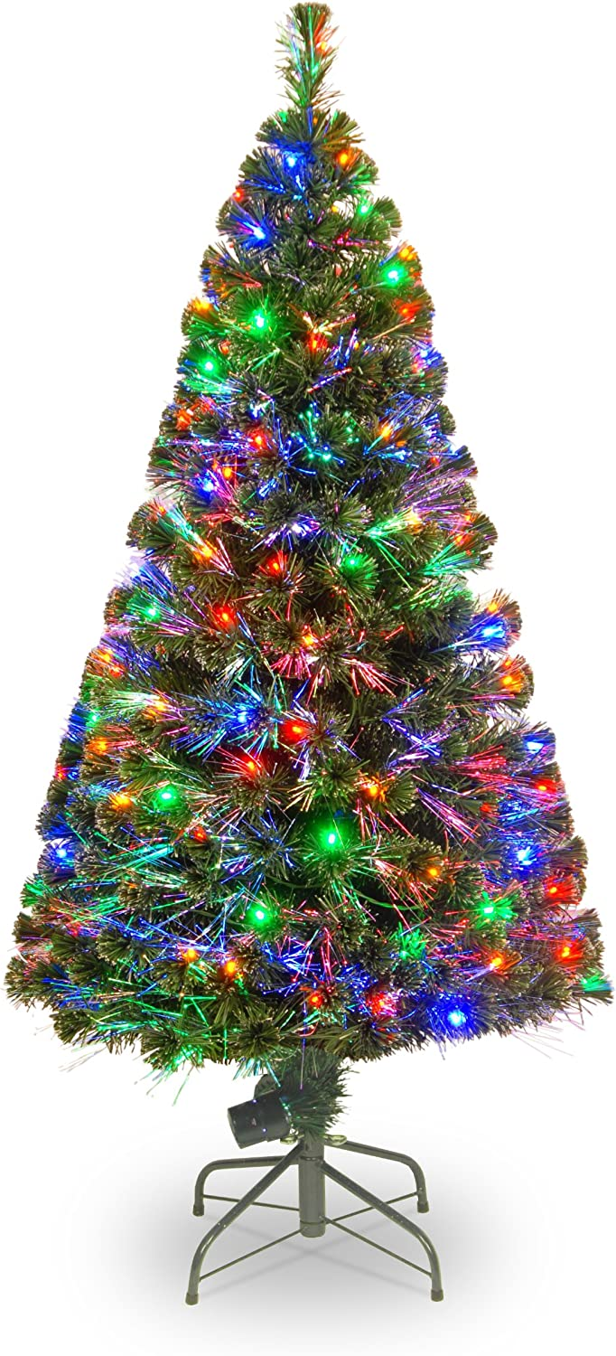 National Tree 60 Inch Fiber Optic Evergreen Tree with 150 Multicolored Lights in a 16 Inch Stand (SZE7-147-60)