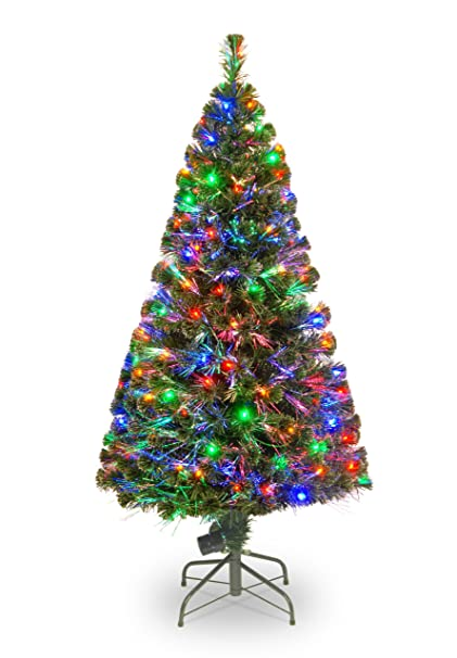 national tree 60 inch fiber optic evergreen tree with 150 multicolored lights in a 16 inch - Mini Fiber Optic Christmas Tree