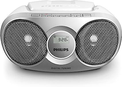 sélectionner pour plus récent nuances de gamme de couleurs exceptionnelle Philips AZ215S Lecteur CD,CD-R,RW Portable, Facile à Utiliser pour Enfants,  avec Radio FM, Entrée Audio - Argent et Blanc