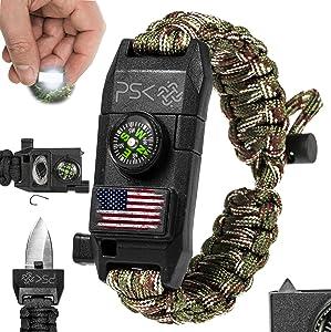 PSK Paracord Knife Bracelet 8-in-1 Personal Survival Kit - Urban & Outdoors Survival Bracelet , Fire Starter, Glass Breaker, Survival Whistle, Signal Mirror, Fishing Hook, Compass