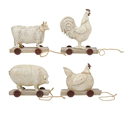 Creative Co-op Resin Sheep on Wheels