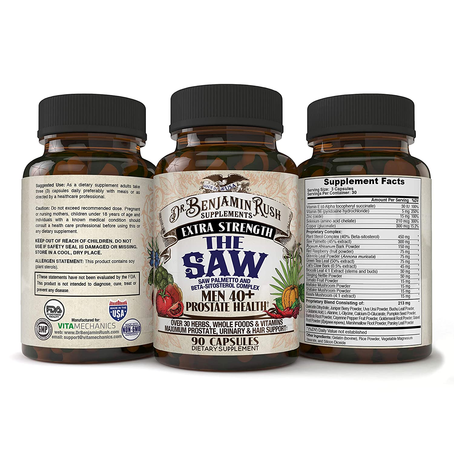 Dr Benjamin Rush Prostate Health Supplements for Men 40 Plus with the SAW, Saw Palmetto, Beta Sitosterol, Complete 30 Herbs, Vitamins and Whole Foods Support Frequent Urination, DHT Blocker Hair Loss