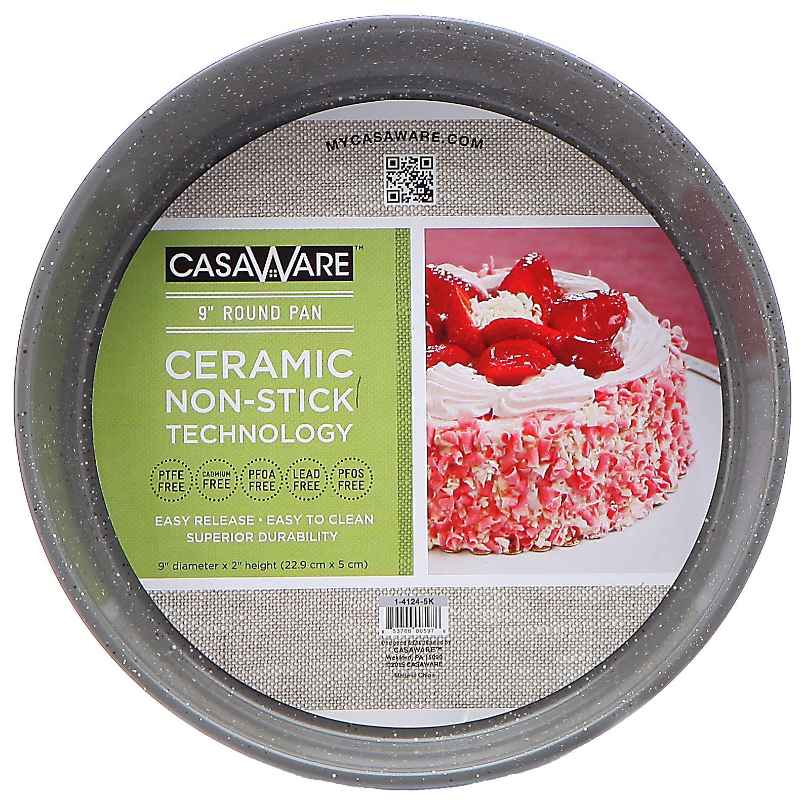 casaWare Ceramic Coated NonStick 9-Inch Round Pan, Silver Granite