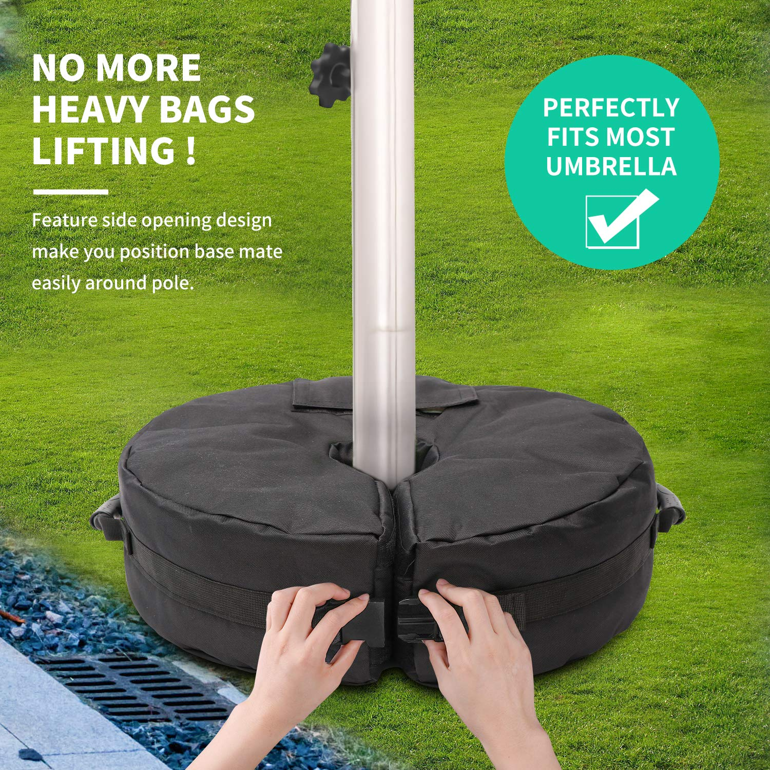 Umbrella Base Weight Bag 88lb, 18 Round Detachable Weatherproof Umbrella Weights Sand Bags for Outdoor Patio, Offset, and Cantilever Umbrellas with Large Opening 2 Handles Sand Not Included
