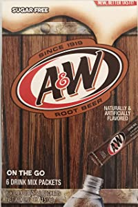 A&W Singles To Go Powder Packets - Sugar Free, Non-Carbonated Root Beer Water Drink Mix (6 Boxes with 6 Packets Each - 36 Total Servings)