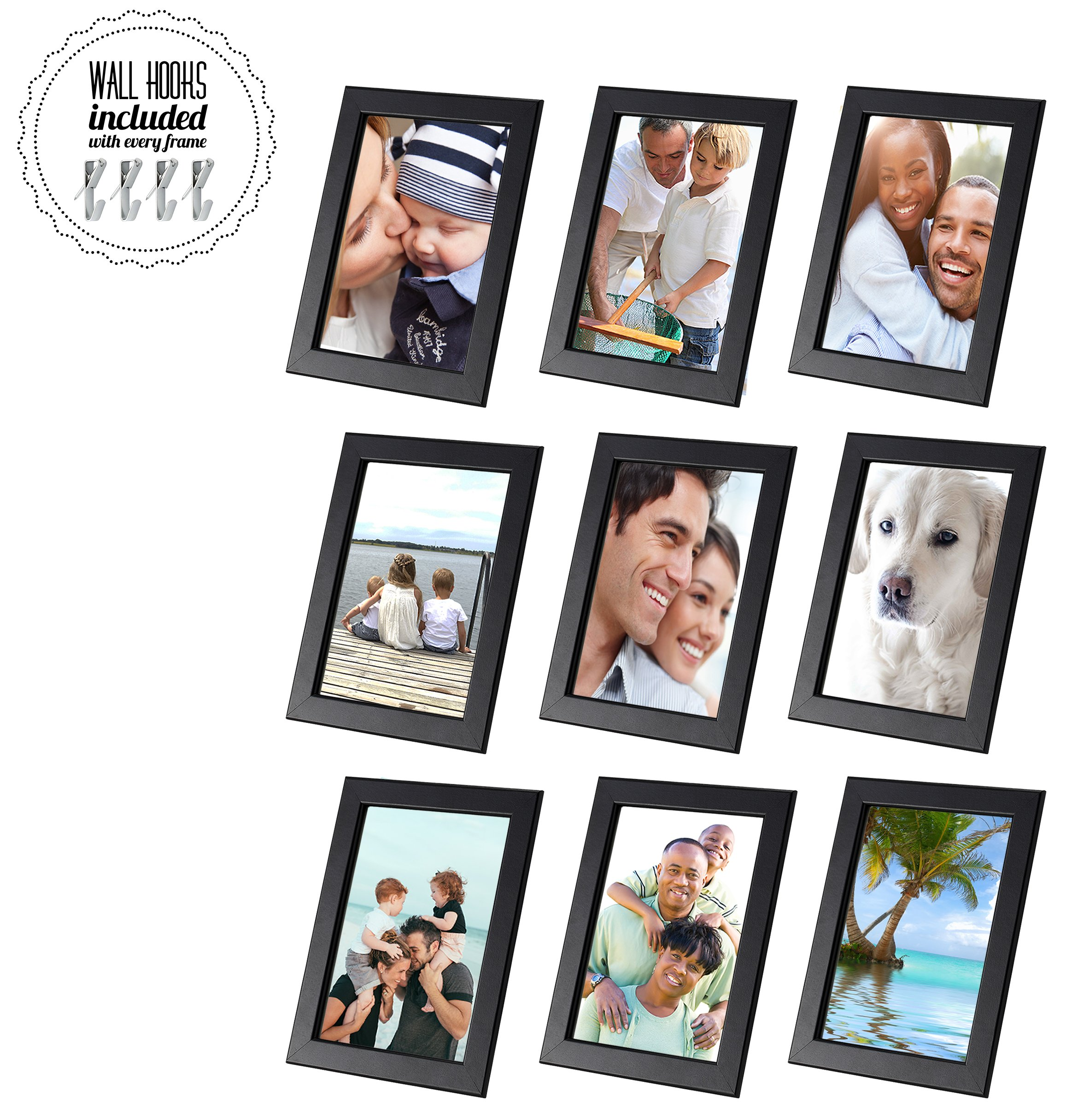 5 x7 Family Picture Frame Collage With Hardware [A+++QBG Wall Hooks]   Set of 9 Photo Frames For Wall or Desk (5 x 7 Collage of 9, Black) by Fiskbo [Picture Frame Collage]