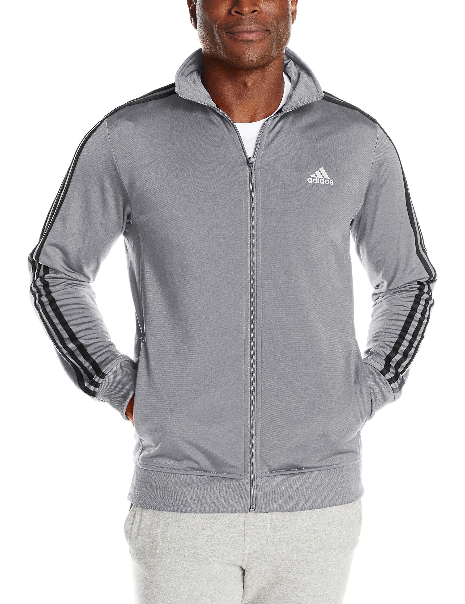 adidas Men's Essential Tricot Jacket, Grey/Black, XXX-Large Tall by adidas