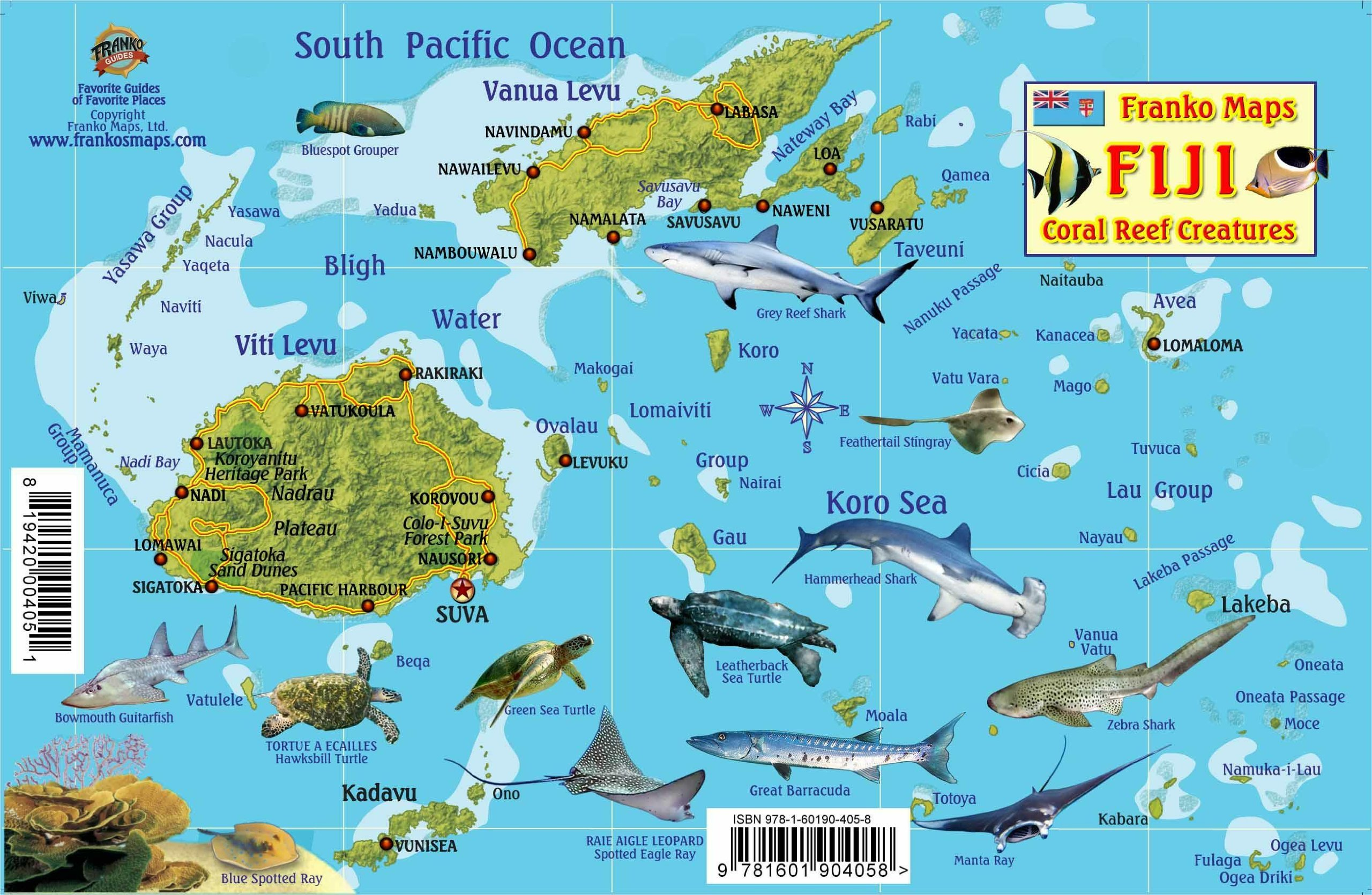 Fiji Map Reef Creatures Guide Franko Maps Laminated Fish Card