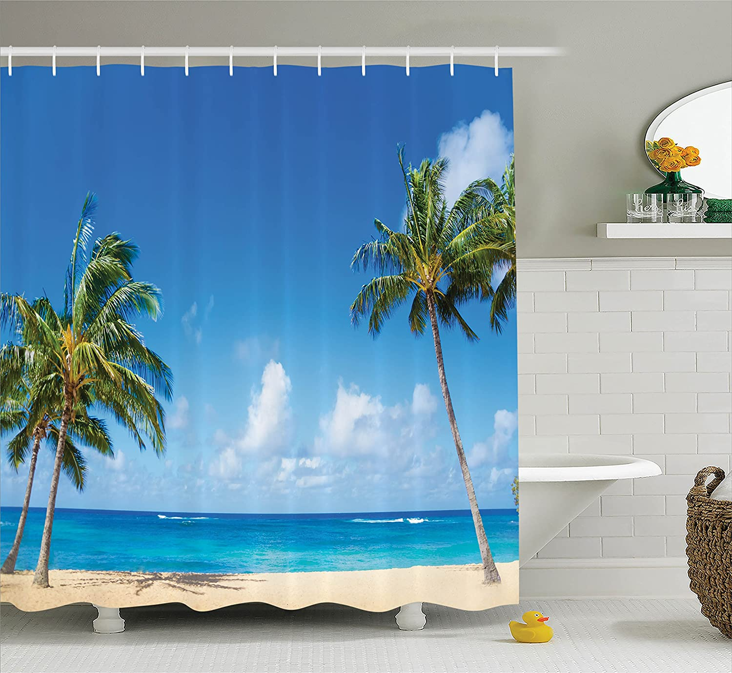 Ambesonne Hawaiian Decorations Collection, Windy Exotic Island with Tropical Trees Calm Beachy Theme Ocean Photography Print, Polyester Fabric Bathroom Shower Curtain Set with Hooks, Gray Green