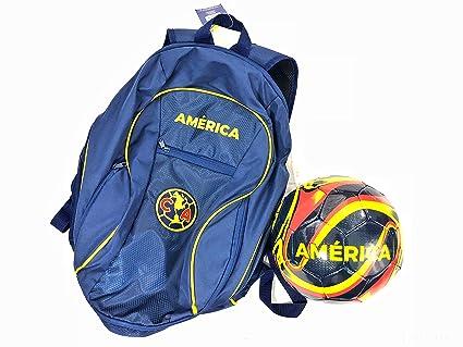 6b1ae5c6e3ae Amazon.com   Club America Soccer Backpack + Size 5 Blue Soccer Ball ...