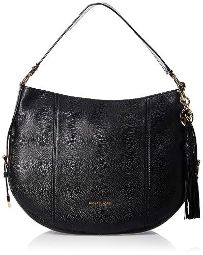 MICHAEL by Michael Kors Brooke borsa in pelle nera, tracolla, borsa multifunzionale, borsa da donna
