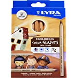 LYRA Color-Giants Colored Pencils, Unlacquered, 6.25 Millimeter Cores, Assorted Skin Tone Colors, 12 Count (3931124)