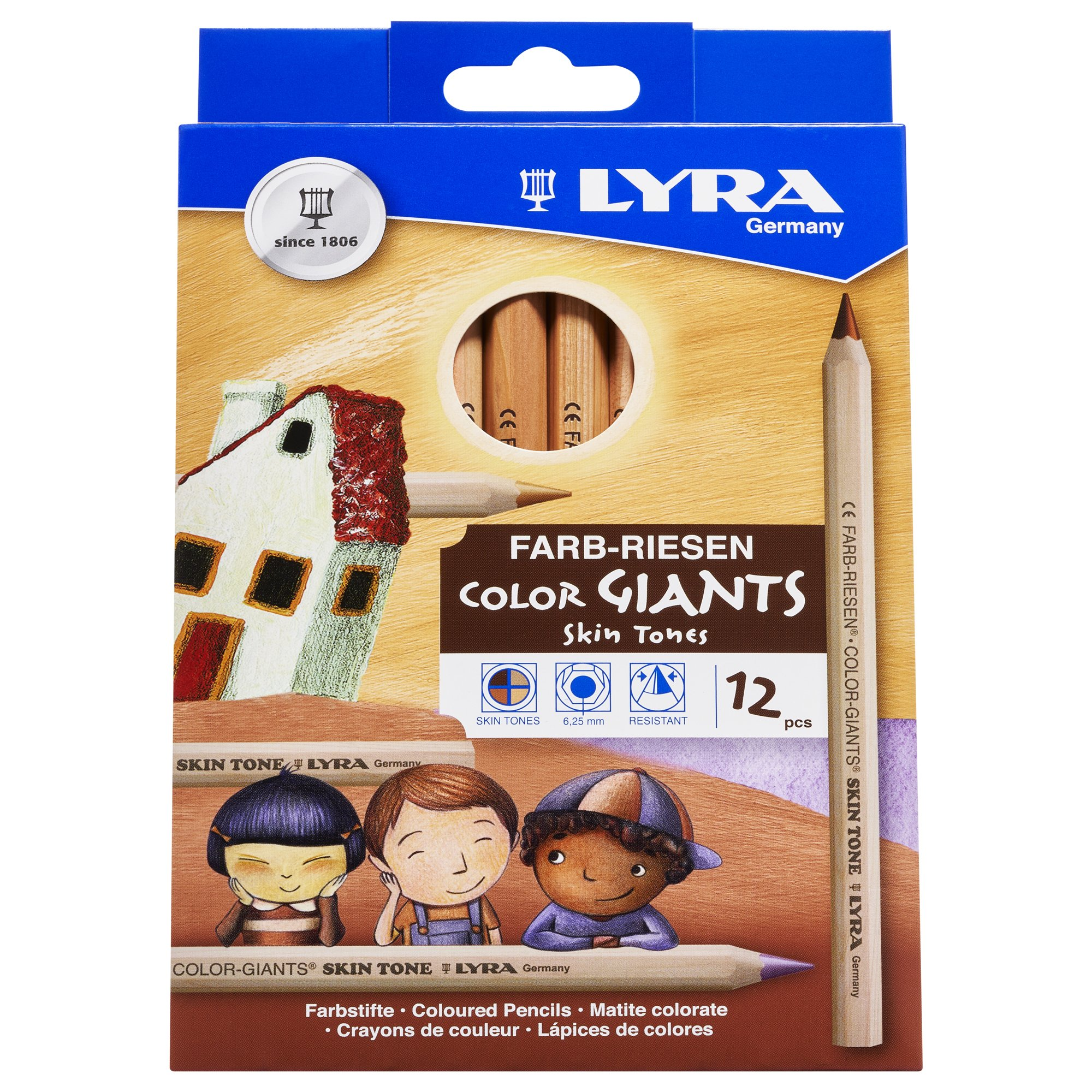 LYRA Color-Giants Colored Pencils, Unlacquered, 6.25 Millimeter Cores, Assorted Skin Tone Colors, 12-Pack (3931124) by Lyra