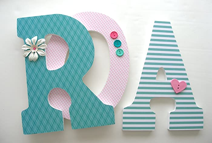 pink and teal custom wood letters baby name nursery decor girl bedroom name art
