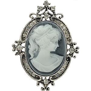 512416d16 Gyn&Joy Vintage Style Cameo Victorian Lady Maiden Crystal Rhinestone Pin  Brooch BZ037