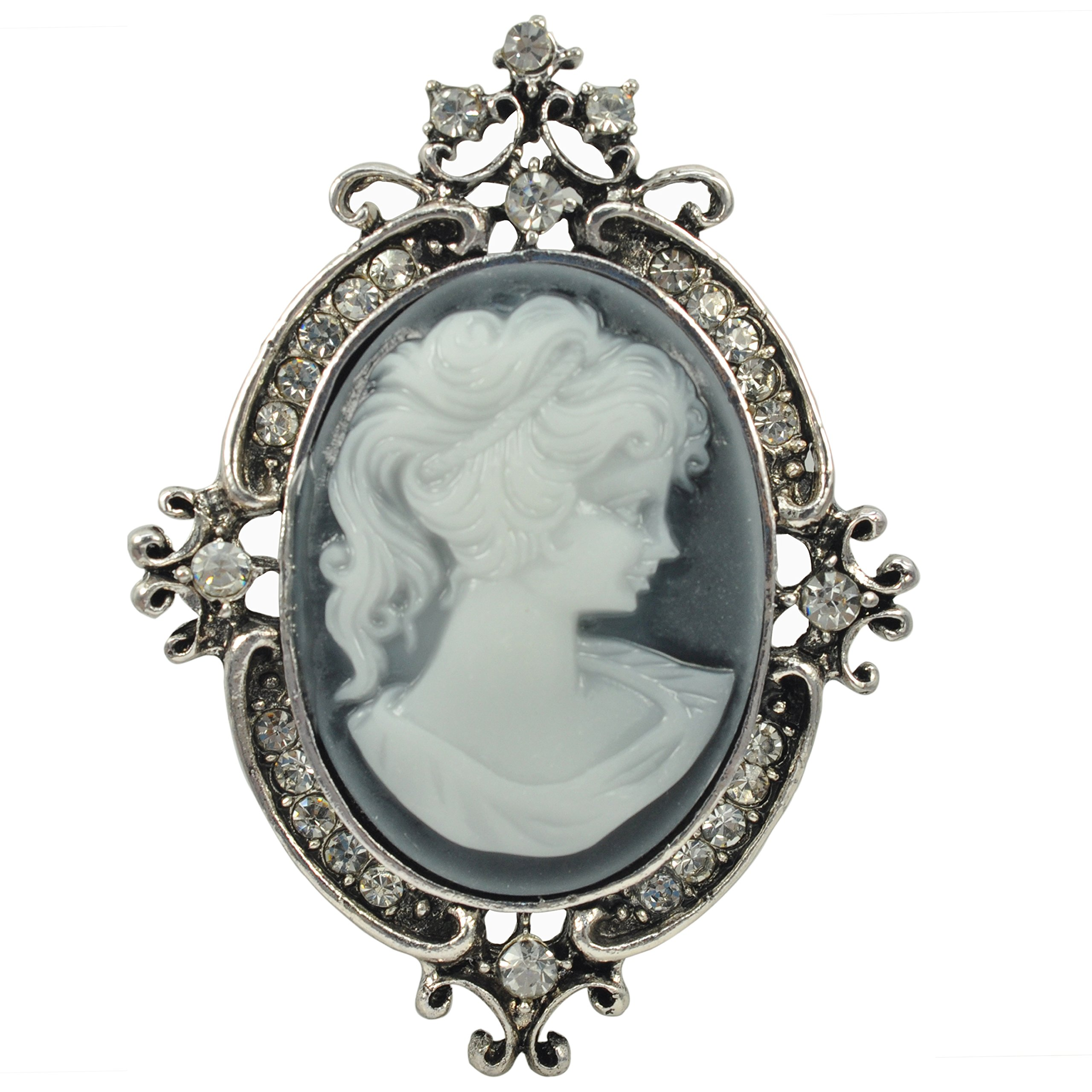 Gyn&Joy Vintage Style Cameo Victorian Lady Maiden Crystal Rhinestone Pin Brooch BZ037 (old silver)
