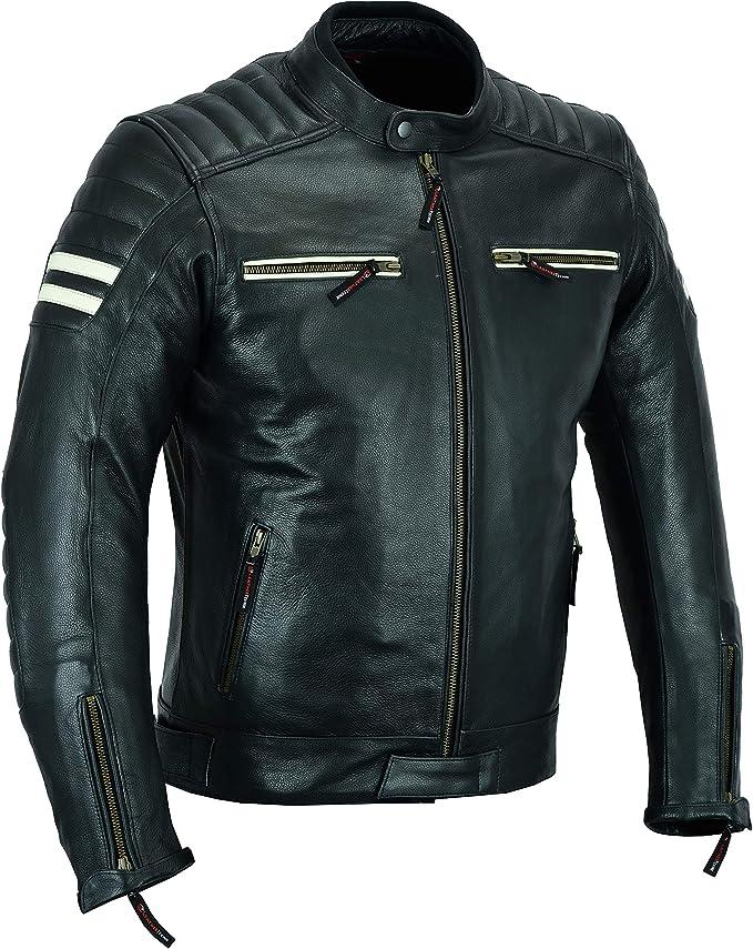 Chaqueta de piel de alta protección para motociclistas, armadura blanca/negro LJ-3026A