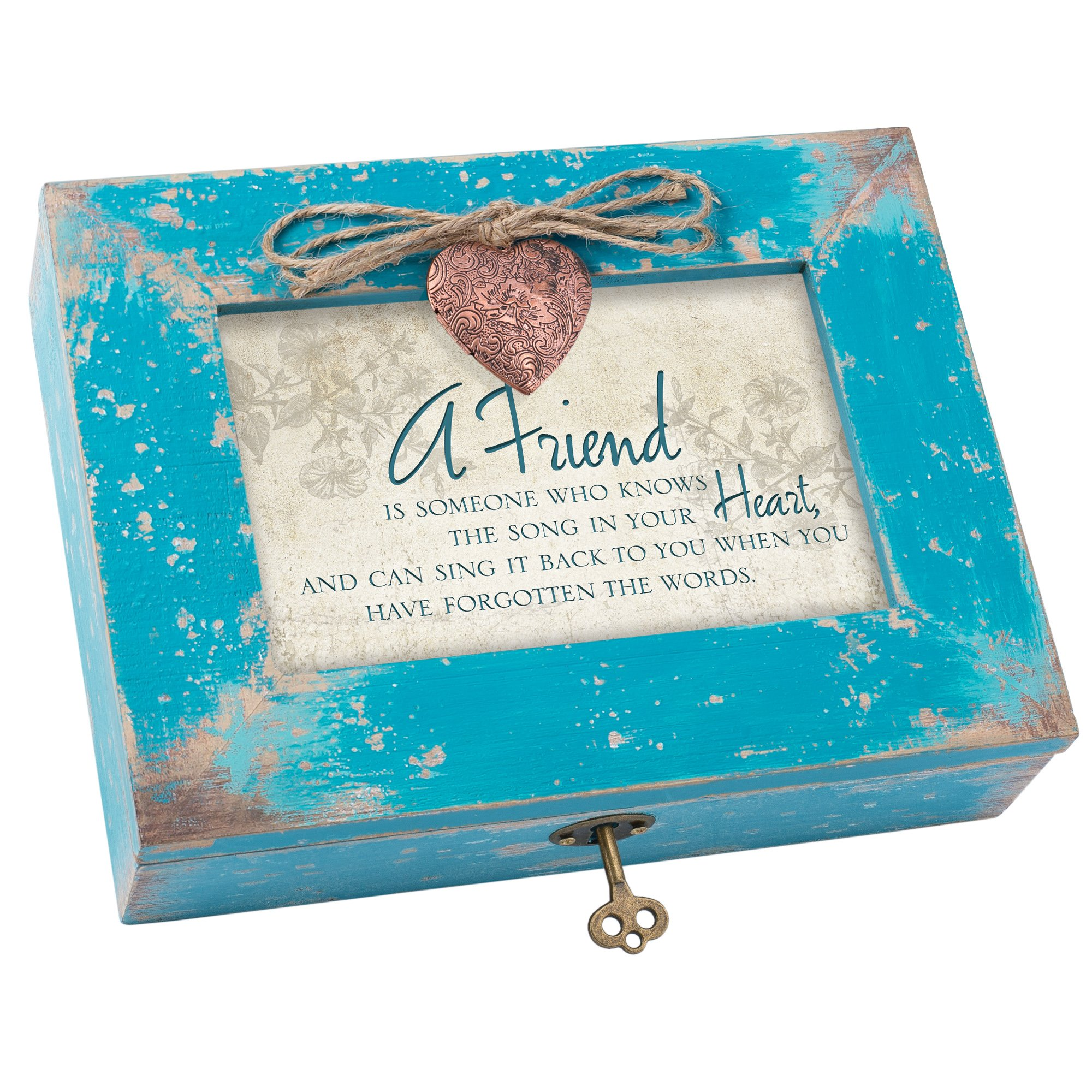 A Friend Knows Your Heart Teal Wood Locket Jewelry Music Box Plays Tune That's What Friends are for
