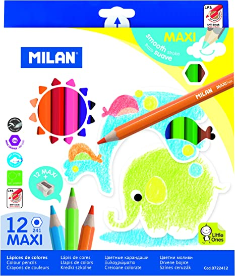 Milan 0722412 - Pack de 12 lápices de colores, hexagonales: Amazon ...