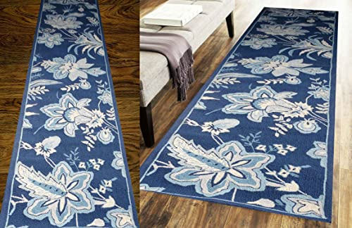 Home Must Haves Blue Floral Long Rug Carpet 100 Wool Hand Made