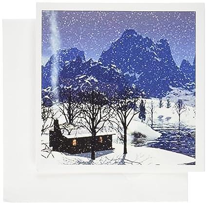 Amazon 3drose log cabin in snow scene greeting cards 6 x 6 3drose log cabin in snow scene greeting cards 6 x 6 inches set m4hsunfo
