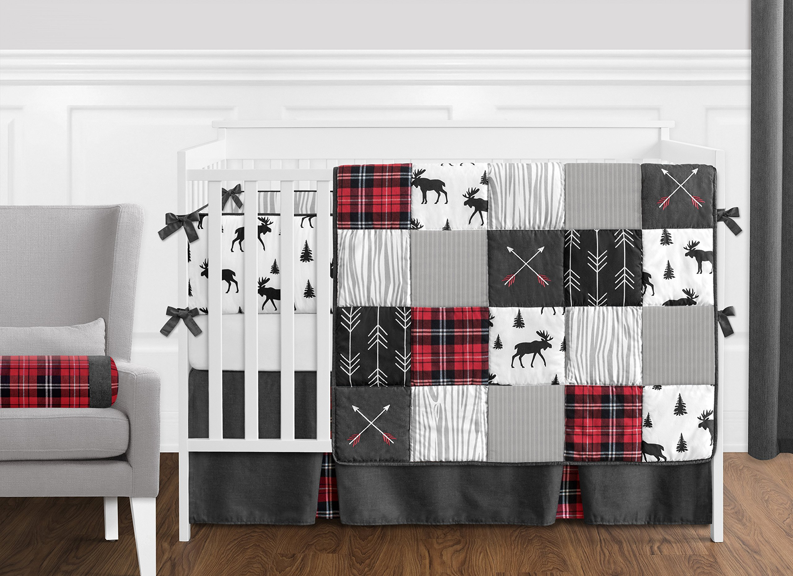 Sweet Jojo Designs Grey, Black and Red Woodland Plaid and Arrow Long Front Crib Rail Guard Baby Teething Cover Protector Wrap for Rustic Patch Collection – Flannel Moose Gray