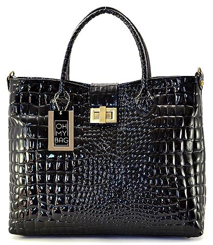 ab628f66791 OH MY BAG Sac à main en cuir façon croco Giverny noir  Amazon.fr   Chaussures et Sacs