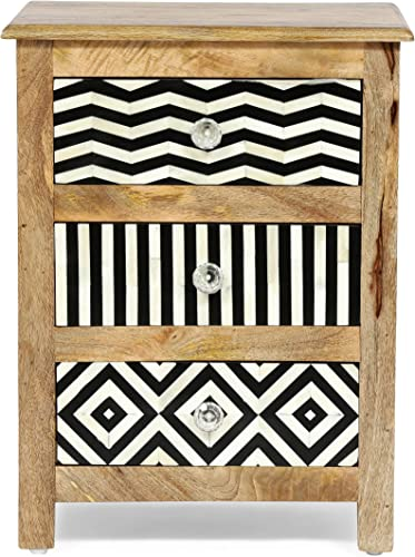 Christopher Knight Home Charles Handcrafted Boho 3 Drawer Mango Wood Nightstand