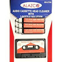 Audio Tape Cassette Head Cleaner w/ 3 Cleaning Fluids Care Wet Maintenance Kit by Alazco