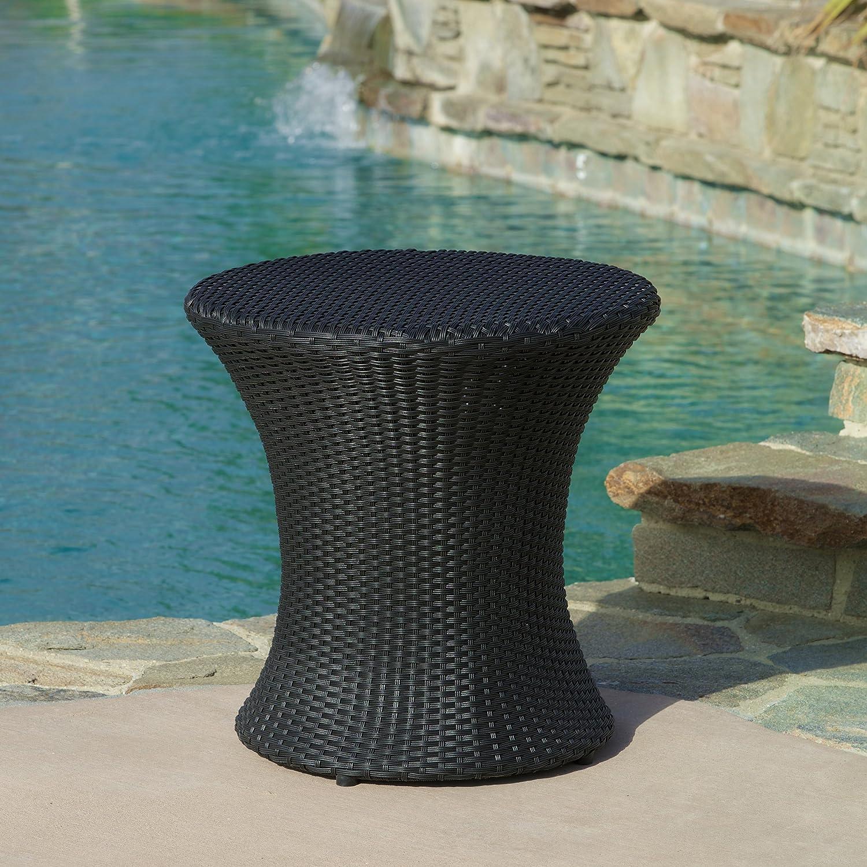 Amazon.com: Lorenzo Outdoor Black Wicker Accent Table: Kitchen U0026 Dining