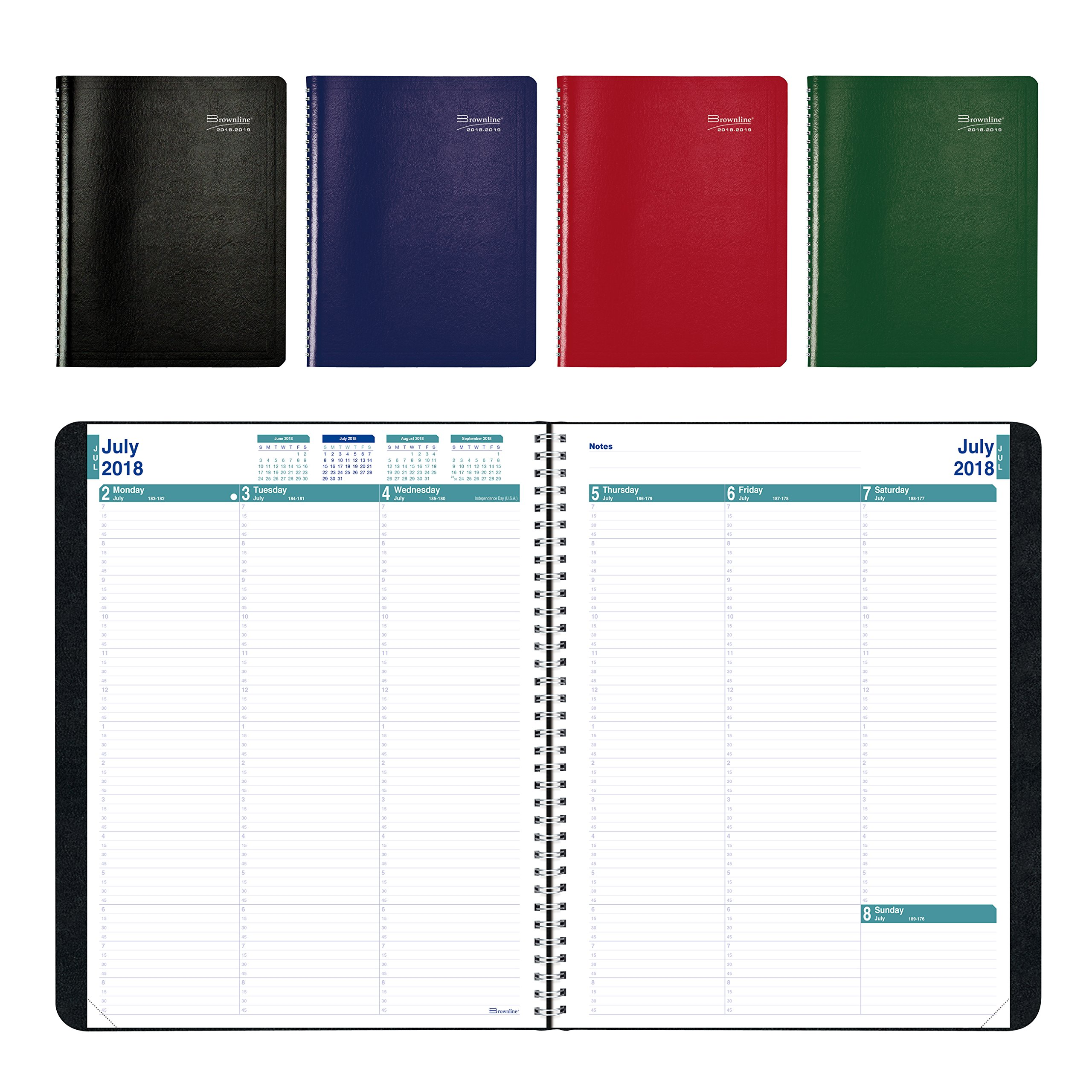 Brownline 2018-2019 Weekly/Monthly Academic Planner with Appointment, 11 x 8.5 inches, July 2018 to July 2019, 13 Months, Assorted Colors (CA958.ASX-19)