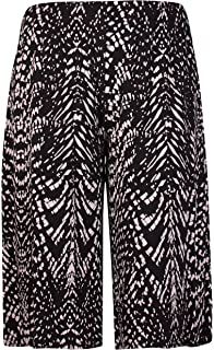 Womens New Plus Size Spot Paisley Print Ladies Stretch Wide Leg Culottes Shorts