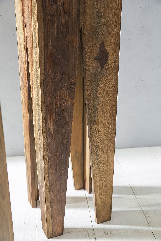 WOHNLING Beistelltisch 3er Set Massivholz Sheesham Wohnzimmer Tisch Design  Söulen Landhausstil Couchtisch Quadratisch Holztisch Natur Produkt ...
