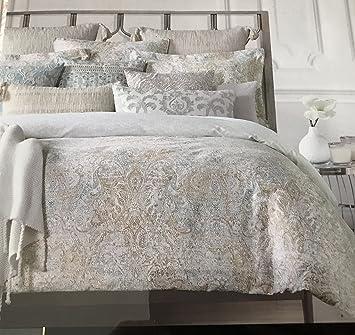 tahari bedding duvet cover set king 3 pc set paisley medallion floral coral green tan reversible