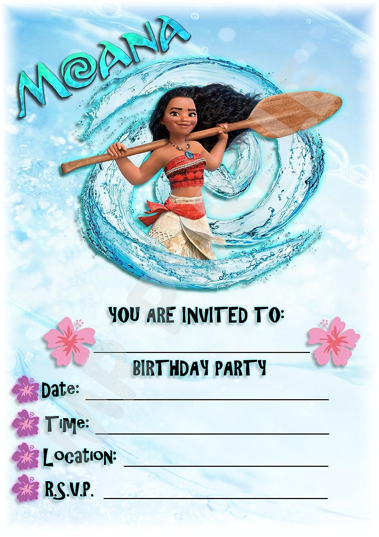 Disney Moana fiesta de cumpleaños invitaciones–Splash–Diseño–fiesta suministros/accesorios (Pack de 12invitaciones A5) WITH Envelopes MrPurple