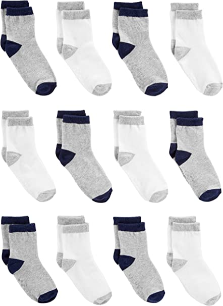 6,12 set Baby Toddler Boy Mixed designs Assorted Colors Comfortable Cotton Socks